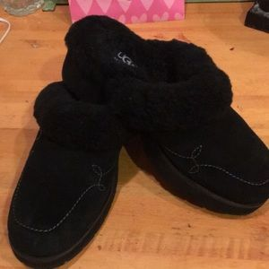 NEW UGG Black Suede 2in Rubber Heel Mules/Slippers